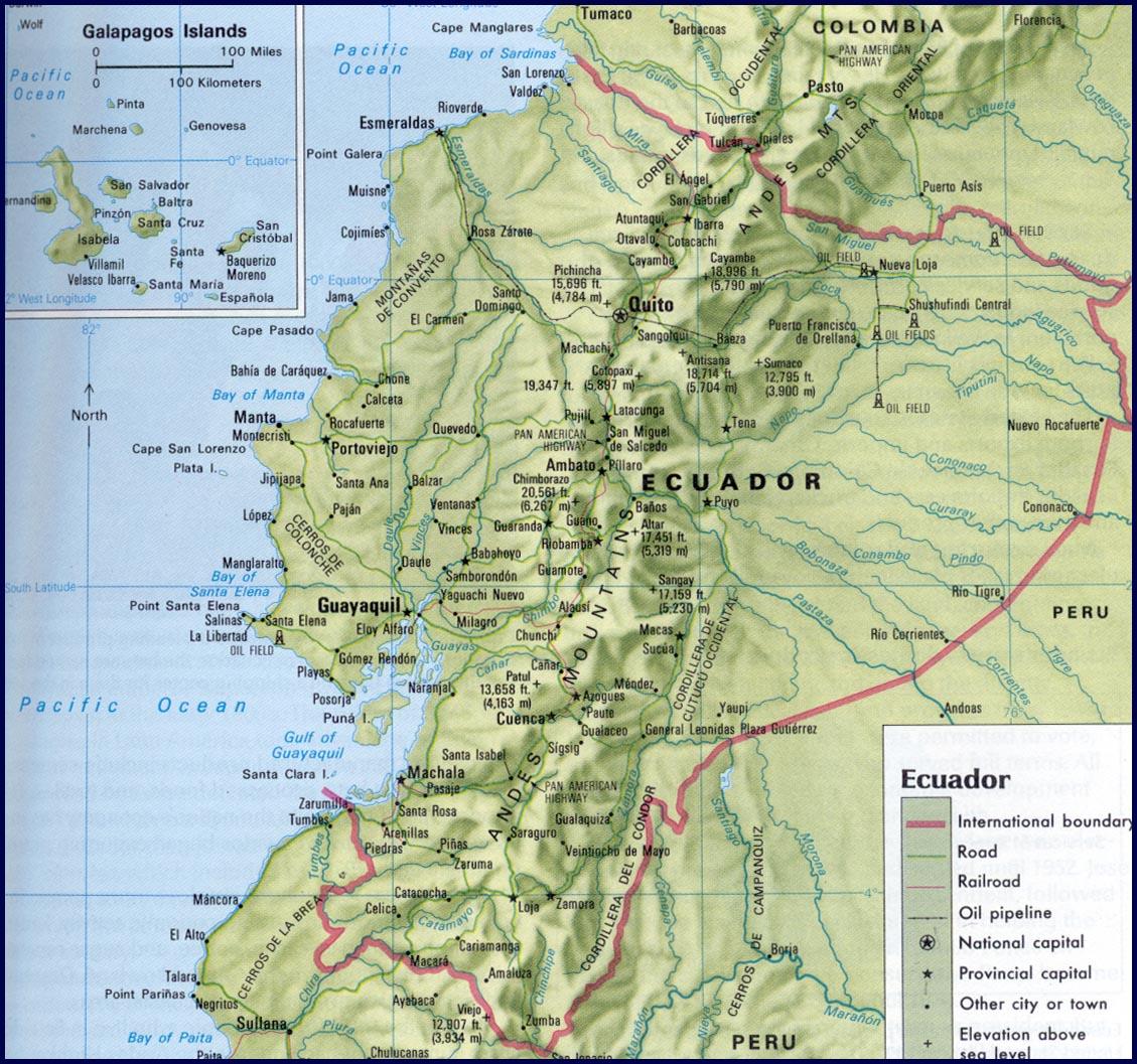 Ecuador By Roger J Wendell - Physical map of ecuador