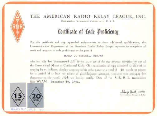 ARRL 20 Wpm Certificate.