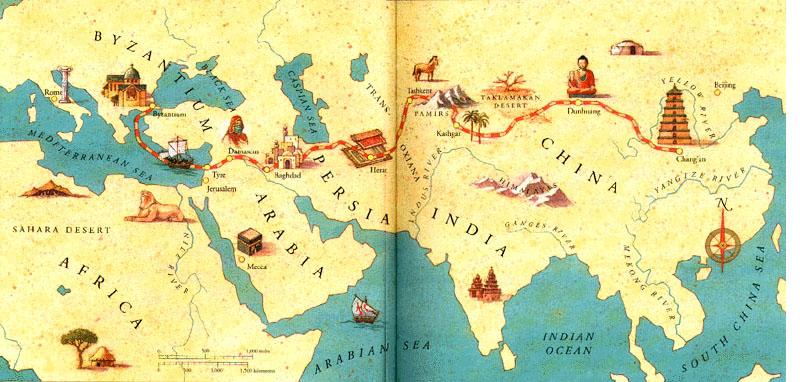 silkroad map, tarihi ipek yolu haritası