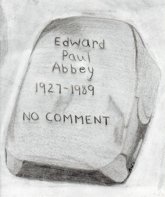 Gravestone over Ed Abbey's Resting Place in the Cabeza Prieta Wilderness - drawing by ALWA 07-14-2011