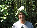 Graham wears a leaf hat - Ecuador, January 2006