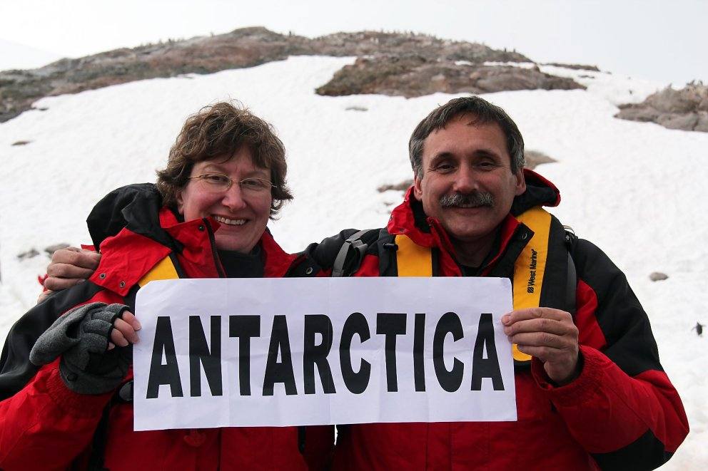 Roger and Tami Wendell at Neko Harbour, Antarctica - 01-28-2011