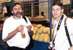 Roger Wendell drinks Future Apple with Ray Anderson - June, 2001