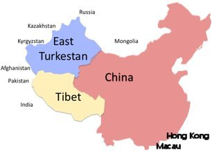 Map of China, Tibet, and East Turkestan
