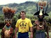 John Long with Highlands Tribes people in Papua New Guinea - 1982