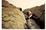 Roger J. Wendell lead climbing Devils Tower, Wyoming - 07-16-1994