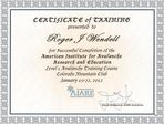 AIARE Level 1 Training Certificate for Roger J. Wendell - 01-22-2012