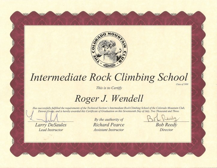 Colorado Mountain club (CMC) Page of Roger J. Wendell