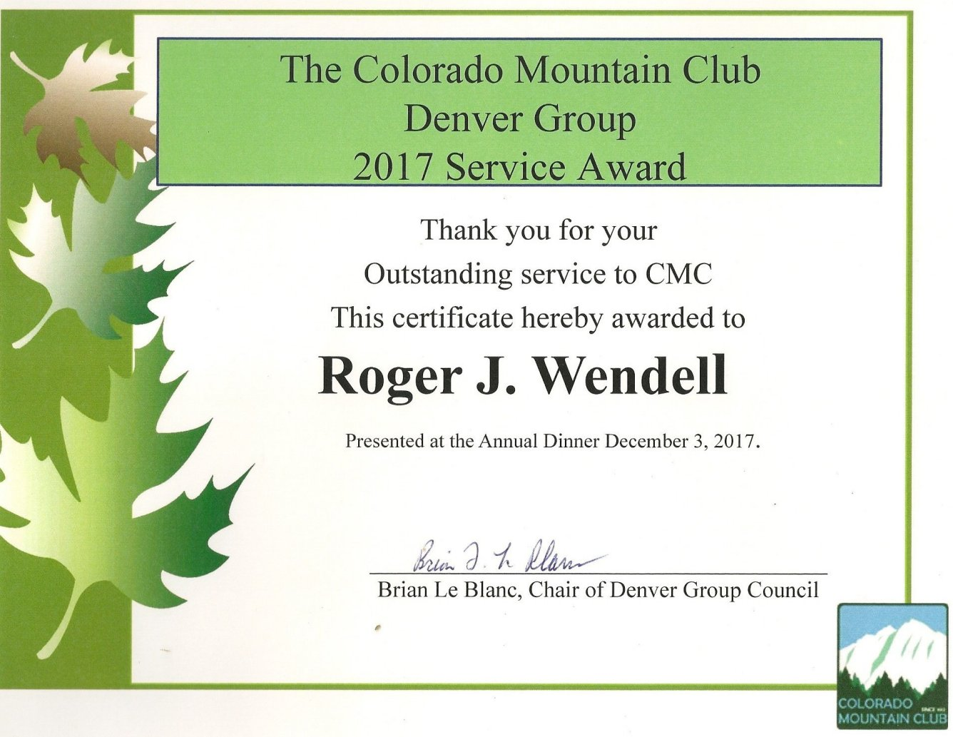 Colorado Mountain club (CMC) Page of Roger J  Wendell