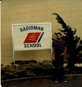 Roger J. Wendell in front of Radioman School in Petaluma, California - 1975