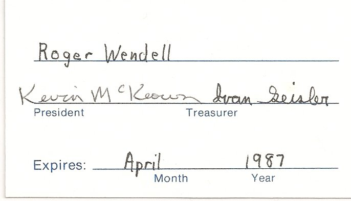 Denver Astronomical Society Membership Card of Roger J. Wendell - April 1987
