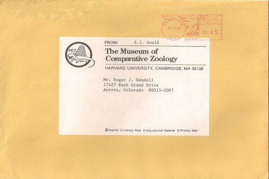 Museum of Comparative Zoology Dr. Stephen Jay Gould to Roger J. Wendell - 12-13-2010