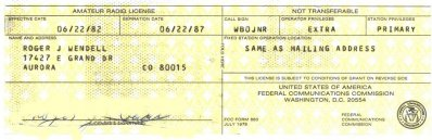 Extra Class Amateur Radio License WB0JNR - 1982