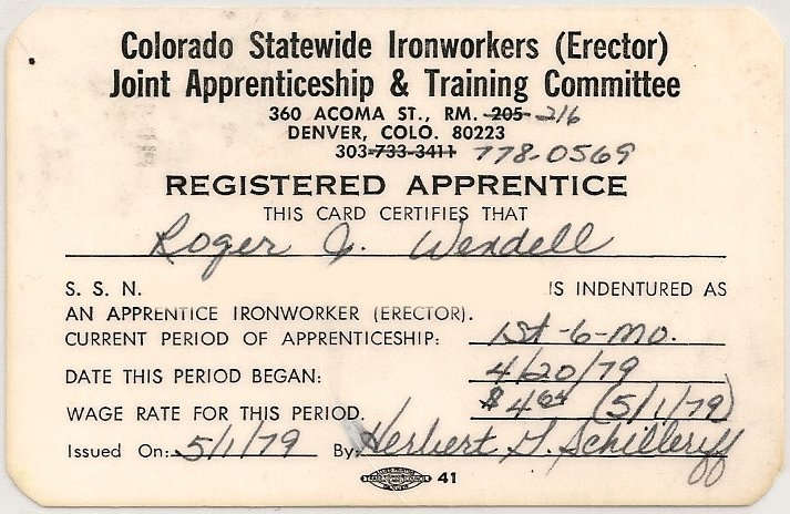 COloraod Statewide Ironworkers (Erector) Joint Apprenticeship and Training Committee Roger J. Wendell - 04-20-1979