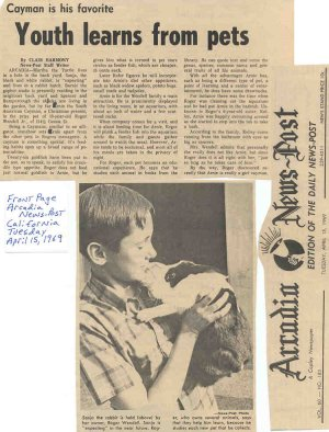 Roger J. Wendell at age 13 in the Arcardia News Post - 04-15-69