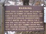 Barr trail Warning Sign