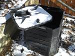 Snow on Our Composting Bin - 03-23-2008