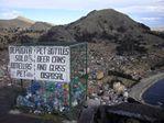 Recycling on top Mount Calvario in Copacabana, Bolivia - 06-10-2013
