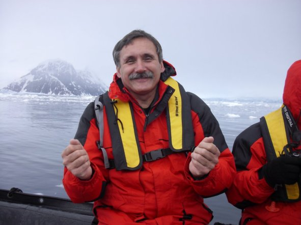 Roger J. Wendell on a zodiac boat in Antarctica - 01-28-2011