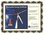 Renewable Energy Certificate for Roger J. Wendell, Sierra Club Auction - 2005