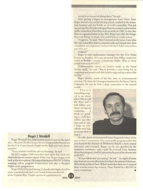 Roger Wendell in the KGNU Program Guide - Fall 1999